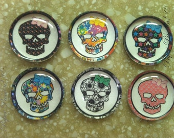 "Handmade ""Funky Skulls"" Magnets (set of 6)"