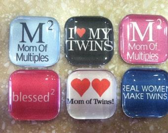 Mom of TWINS - Handmade Magnets (set of 6)