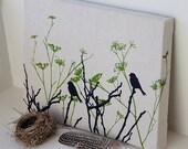 Harmony - original screen printed design - birds wild flowers olive green navy black - affordable art -12 x 16 inch canvas