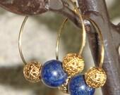 Gold Lapis Lazuli Hoop Earrings