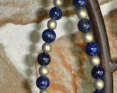 Lapis Lazuli Globes and Gold Glass Bracelet