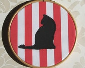 Cat Silhouette Red Stripes Applique Wall Decor