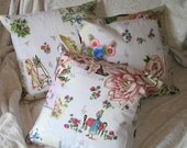 Hand Made, Original, Unique Springtime in Paris Collage Applique Cushion Covers, Shabby Chic, Cottage Chic