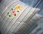 Pair of Stuffed Shirt Stripey Hippie Western Style Shirt cushion covers