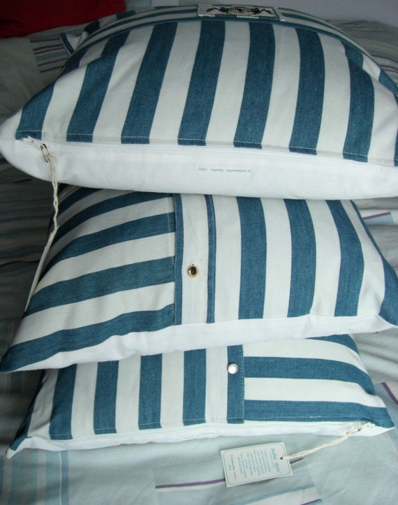 Trio of Stuffed Shirt, Stripey Yacht, Caravan, Upcycled Men's Shirt, Three Cushion Covers