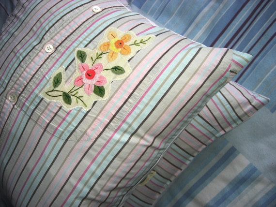 Pair of Stuffed Shirt, Stripey, Hippie, Western Style, Upcycled Men's Shirt, Appliqued Cushion Covers