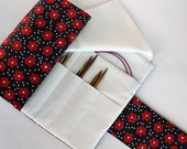 Knitting Needle Case for Interchangeable Tips and Circulars - Red & Black Flowers