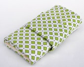 Knitting Needle Case for Interchangeable Tips and Circulars - Green Squared