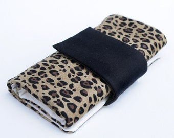 Knitting Needle Case for Interchangeable Tips and Circulars - Jazzy Jungle Animal Print with Accessory Clasp