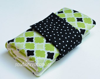 Knitting Needle Case for Interchangeable Tips and Circulars - Bright Lime Green & Black
