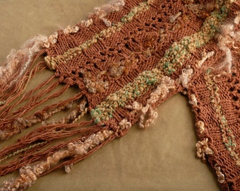 Earth Tones Textured Knitted Rectangular Shawl