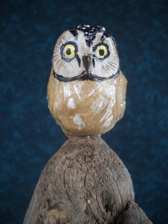 Stoneware Boreal Owl