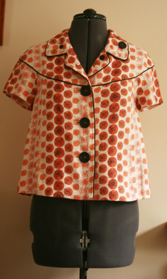 SALE CuStomised Retro Orange buTTons and bow Jacket recycled Unique