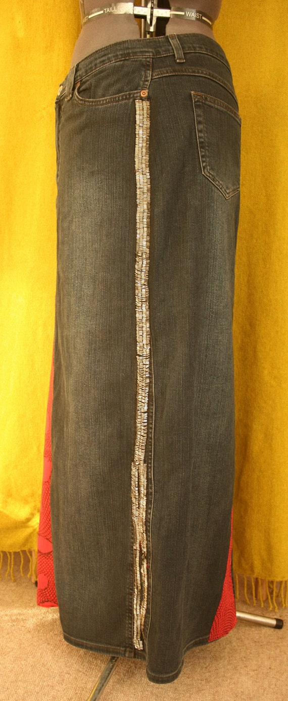 CLOSING DOWN SALE Long charcoal denim red jersey patches and SiLver beads skiRt cuStomised recycled