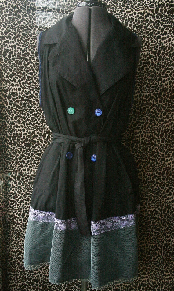 SUMMER SALE BlacK sleeveless Mac jacket wiTh Lace netting and mismatched buTTons Upcycled recycled Layering unique