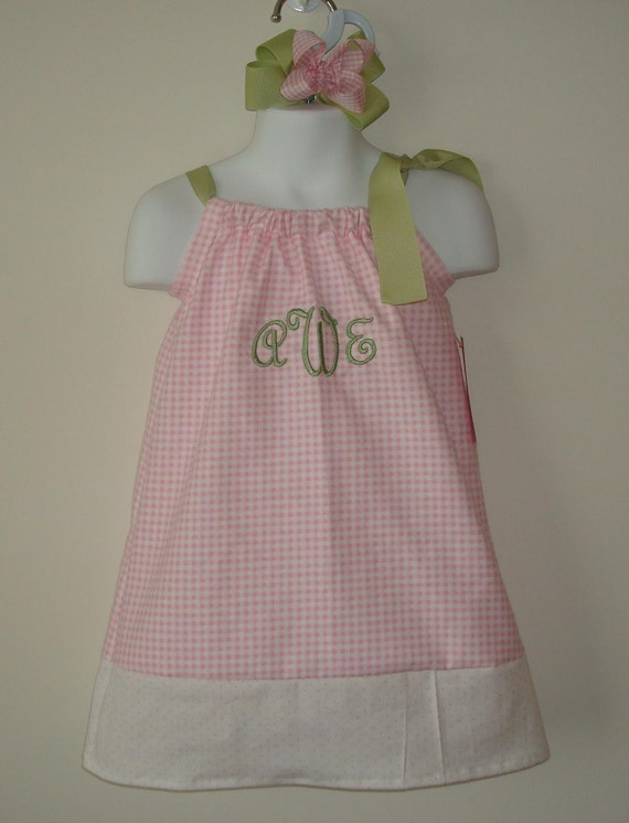 Classic Pink Gingham Cotton Boutique Pillowcase Dress with Green Shoulder Tie and 3 Initial Monogram