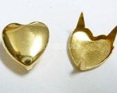 FREE SHIPPING 25X10mm Gold Heart Stud spot Card Scarpbooking S057