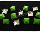 50pcs 8mm Green Pyramid Studs Punk ROCK Biker Spikes spots EMO S1008