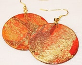 Orange Marbled Abstract Paper Earrings