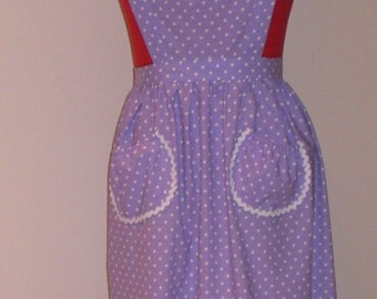 Lavender with White Polka Dots Full Apron
