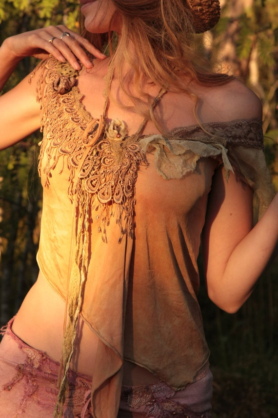 Reserved for Miriel Goddess of Dawn, unique sensual silk top, assymetric free spirit design