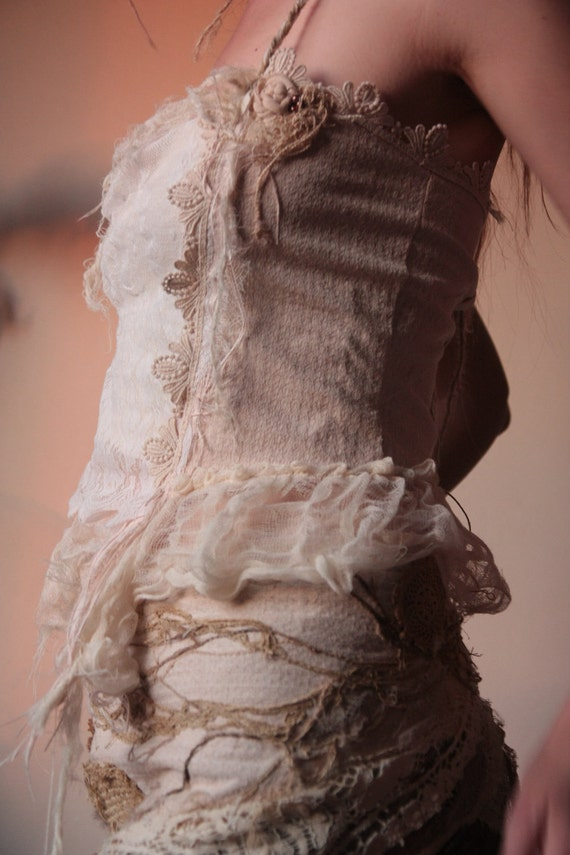 CUSTOM LISTING FOR A Fae of the wild, organic corset laced shirt