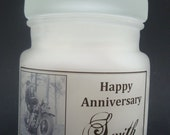 Anniversary,Wedding, Shower Custom  Picture Candle Small Keepsake Jar Happy Anniversary and Name