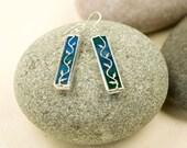 Blue/Green - Twig Earrings - Stained Glass -Sterling Silver  Earring Hooks