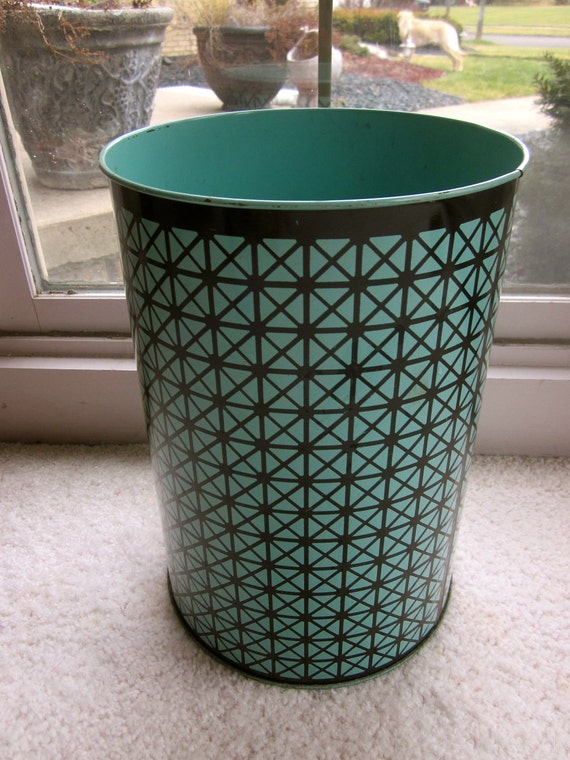 Vintage Colorware Nc Metal Waste Trash Can Shabby Chic By