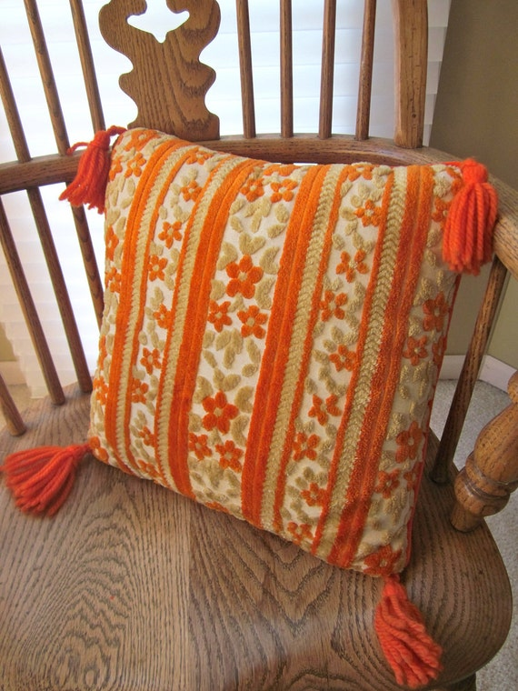 Throw Pillow With Tassels : RESERVED for kburney Orange Retro THROW PILLOW Tassels Crushed