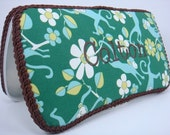 PERSONALIZED Boutique Style Diaper Wipes Case - Green, Blue and White Monkey Fabric