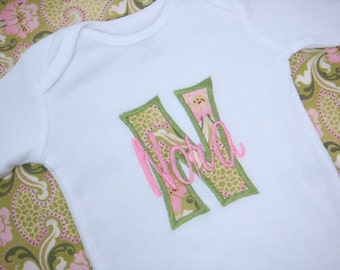 PERSONALIZED Baby Girl bodysuit - Pink and Green Baby Girl bodysuit - Short Sleeve Initial Applique - Baby Shower Gift