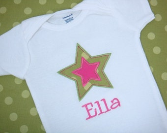 Personalized Baby Girl Shirt - Baby Girl Star Bodysuit - Embroidered Rock Star Applique Shirt