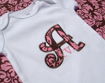 PERSONALIZED Baby Girl bodysuit - Pink and Brown Damask Baby Girl bodysuit - Short Sleeve Initial Applique - Baby Shower Gift
