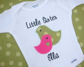 Little Sister Shirt - Sisters Shirt - Big Sister Little Sister - Little Sister Birds Shirt
