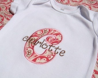 PERSONALIZED Baby Girl bodysuit - Pink and Brown Baby Girl bodysuit - Baby Girl Shower Gift