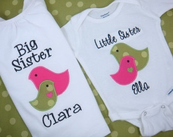 Big Sister Shirt - Big Sis Shirt - Little Sister BodySuit - Big Brother Shirt - Little Brother Bodysuit - Sibling Set - 2 Birds