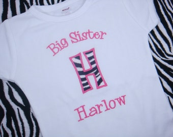 Big Sister Shirt  - Big Sis Shirt - Big Brother Shirt - Little Sister Little Brother Bodysuit - Initial Applique