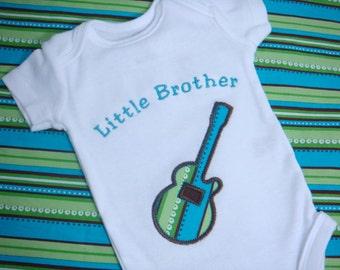 Little Brother Shirt - Little Brother Guitar Shirt - Big Sister Little Brother - Guitar Sibling Shirt