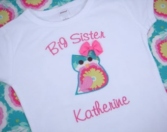 Big Sister Shirt - I'm Going to be a Big Sister Shirt - Big Sister Little Brother - Big Sister Owl Shirt