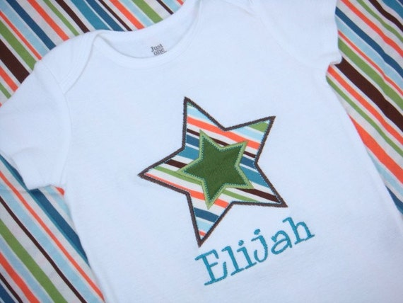 Baby Boy bodysuit - Baby Boy Star bodysuit - Rockstar bodysuit - Personalized Baby Gift