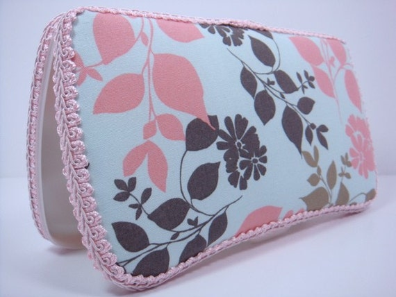 Boutique Style Diaper Wipes Case - Light Blue, Pink and Brown Floral Fabric
