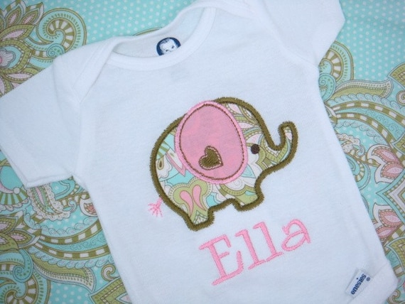 Personalized Baby Girl bodysuit - Elephant Baby Girl bodysuit - Baby Girl bodysuit or Baby Boy bodysuit