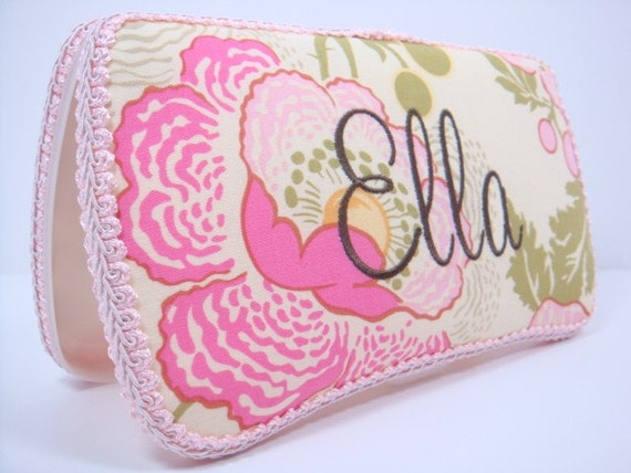 Baby Girl Wipes Case - Pink and Green Flowers Baby Wipe Case -  Amy Butler Fresh Poppies - Personalized