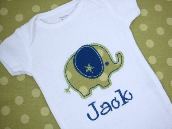 Baby Boy Clothes - Baby Boy Shirt - Baby Boy Gift - Baby Boy Elephant Bodysuit