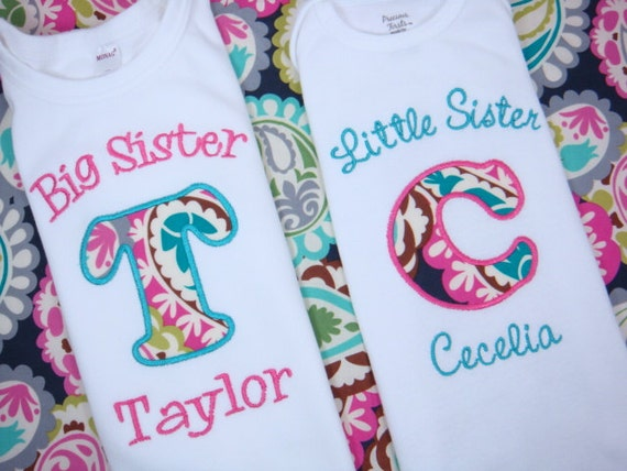 Big Sister Little Sister Shirt - Big Brother Shirt or Little Brother Onesie - Sibling Shirt Set - Initials