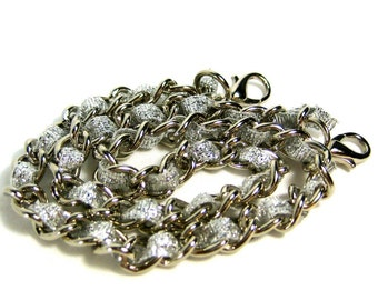 13 inch Nickel-free purse chain(TM) - Silver Sparkles