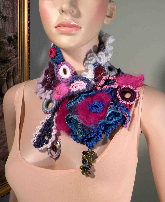 COWL/SCARFLETTE/COLLAR - 2013 Collection, Wearable Fiber Art Jewelry, Richly Decorated, Freeform Crocheted