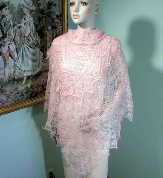 Sale - ELEGANT SHAWL/WRAP - Feather Light, Delicately Crocheted, World Famous Baby Mountain Goat Lace Yarn