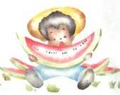 Little boy with watermelon, vintage stencil painted onto new dish towel